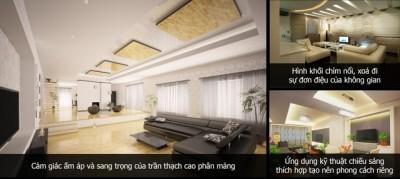 Phòng khách ấn tượng với 3 xu hướng thiết kế trần thạch cao độc đáo