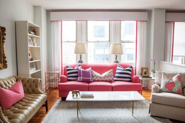 Ghế sofa hồng cho ngôi nhà xinh